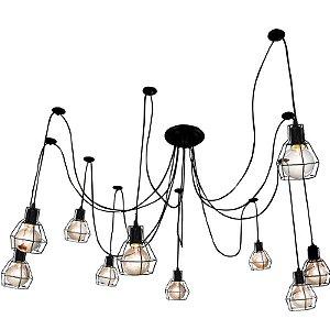 Lustre Para 10 Lâmpadas Pendente Preto com Aramado  - Thomas Edison