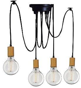 Lustre Para 4 Lâmpadas Pendente com acabamento em Madeira  - Thomas Edison