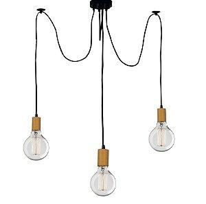 Lustre Para 3 Lâmpadas Pendente com acabamento em Madeira  - Thomas Edison