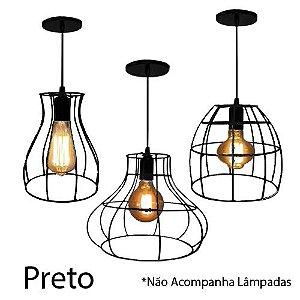 Trio De Pendente Lustre Luminária Aramado Retrô Varias Cores