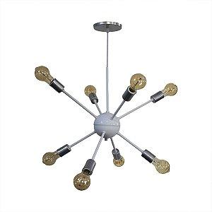 Lustre Pendente Moderno Sputnik Para 8 Lâmpadas Duas Cores