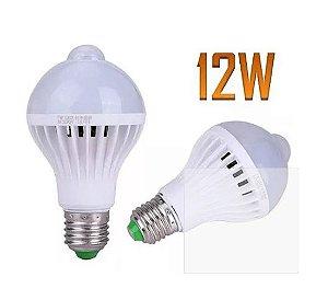 Lâmpada Bulbo Led C/ Sensor Movimento 12w Branco Frio Top