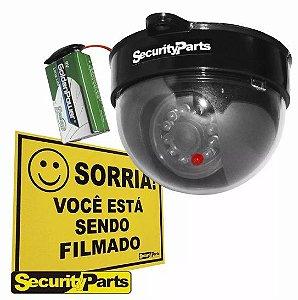 Câmera Dome Falsa com led e bateria CFTV