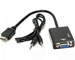 Cabo Adaptador Conversor Hdmi Para RGB VGA com Saída P2 de Áudio