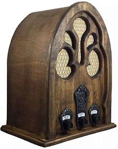 Rádio capelinha artesanal réplica do antigo AM FM