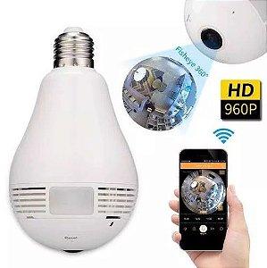 Lampada câmera Espiã Ip 360° Hd Panorâmica Led Wifi Grava  - veja pelo celular