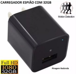 Carregador Espião Filmadora De Parede Grava Audio/video Hd 32GB