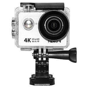 Câmera de ação GOAL PRO HERO 4 - WI-FI - ULTRA HD - BRANCA Esportiva Aventura