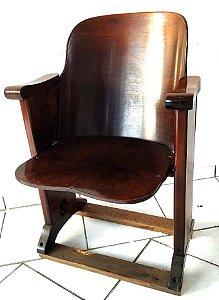 Cadeira de Cinema Cimo Anos 50 Poltrona Antiga em madeira CIMO - Móvel Antigo