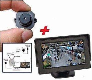 Micro Câmera sem Fio Wirelles com Mini Monitor LCD - CFTV