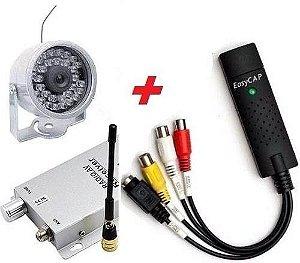 Mini Câmera Noturna Infravermelho Sem Fio Wireless Com Placa de Captura CFTV