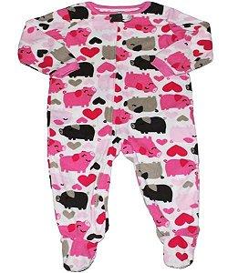 Macacão pijama de fleece com zíper e solado anti-derrapante Carter's