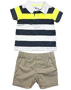 Conjunto camiseta polo manga curta e shorts Carters