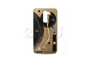 Capa de celular para DJ modelo LG K10 2016 - Toca Discos Pioneer Dourado PLX-1000n