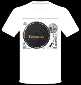 Camisetas para DJ Modelo Technics Toca Discos SL-1200GAE - Branca