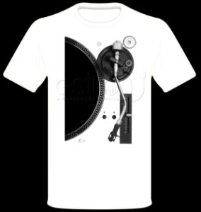 Camisetas para DJ Modelo Estilo DJ Toca Discos Prata - Branca