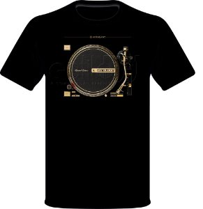 Camisetas para DJ Modelo Reloop Toca Discos Dourado RP-7000 GLD - Preta