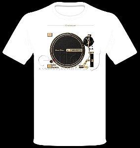 Camisetas para DJ Modelo Reloop Toca Discos Dourado RP-7000 GLD - Branca