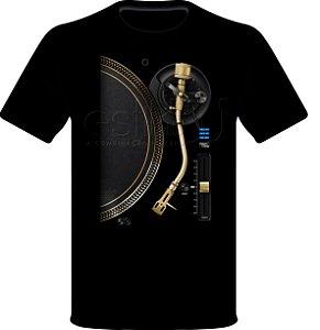 Camisetas para DJ Modelo Estilo DJ Toca Discos Dourado - Preta