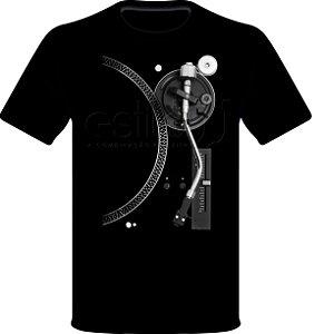 Camisetas para DJ Modelo Estilo DJ Toca Discos Prata - Preta