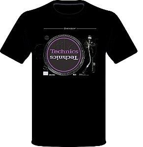 Camisetas para DJ Modelo Technics Toca Discos SL-1210MK2 - Preta