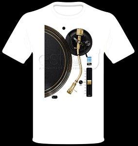 Camisetas para DJ Modelo Estilo DJ Toca Discos Dourado - Branca