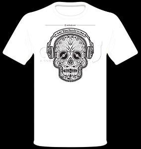 Camisetas para DJ Modelo Technics Caveira Phone - Branca