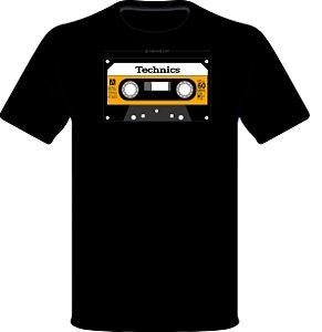 Camisetas para DJ Modelo Technics Compact Cassette RT-60XA - Preta