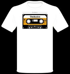 Camisetas para DJ Modelo Technics Compact Cassette RT-60XA - Branca