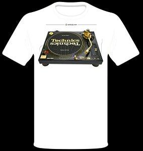 Camisetas para DJ Modelo Technics Toca Discos SL-1200GLD Limited Edition - Branca