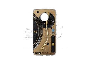 Capa de celular para DJ modelo Moto G5 Plus - Toca Discos Pioneer Dourado PLX-1000n