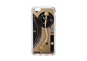 Capa de celular para DJ modelo iPhone 6/6s Plus - Toca Discos Pioneer Dourado PLX-1000n