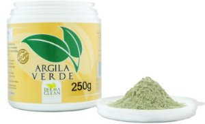Argila Verde Em Pó pote 250g para sensação de maciez, suavidade e limpeza da pele