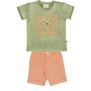 Le Petit - Conj Camisa em Meia Malha Lavada com Bermuda de Sarja