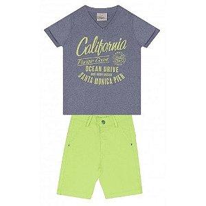 Le Petit - Conj Camiseta Meia Mescla e Bermuda Sarja com Elastano