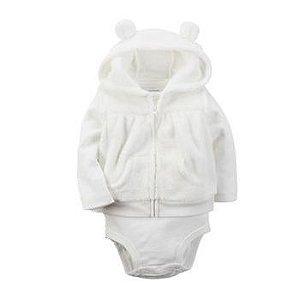 Carter's Conjunto Inverno em Fleece Branco  (2 peças)