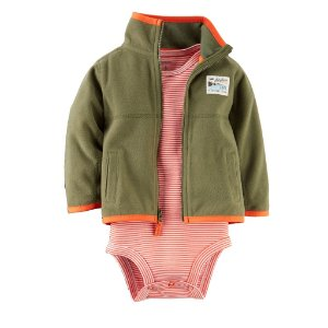 Carter's - Body Malha e Jaqueta Fleece Olive