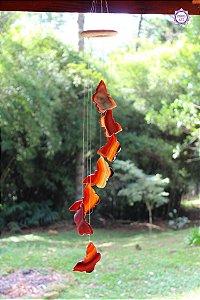 Móbile Mensageiro dos Ventos Borboletas de Ágata de Fogo 70cm | Pedra da Criatividade e Vitalidade