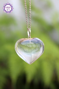 Pingente Coração Quartzo Transparente (Prata 950) 12g | Cristal de Limpeza, Purificação e Cura!