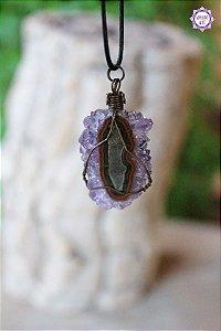 Colar Drusa de Ametista com Cordão Preto Ajustável (Arame Cobreado) | Cristal de Proteção e Transmutação