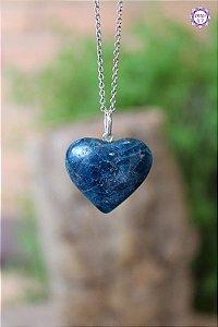 Pingente Coração Apatita Azul (Prata 950) | Pedra para Projeção Astral e Sonho Lúcido