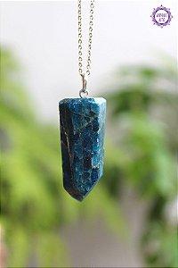 Pingente Ponta Grande de Apatita Azul (Prata 950) 20g | Pedra da Projeção Astral e Sonho Lúcido