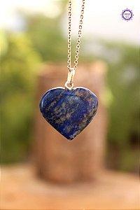 Pingente Coração Lápis-Lazúli (Prata 950) | Pedra da Visão Interior e Comunicação Verdadeira