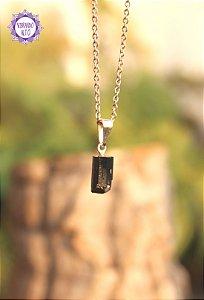 Pingente Mini Turmalina Negra Bruta (Pino Prateado) | Pedra de Proteção e Purificação