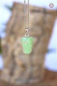 Pingente Pontinha Crisoprásio (Prata 950) | Pedra do Amor Divino e Pensamento Positivo
