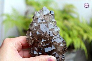 Drusa Elestial de Quartzo Fumê 322g | Cristal para Proteção do Campo Energético | Formação Especial