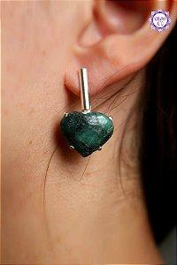 Brinco Coração de Esmeralda (Prata 950) | Pedra do Amor Divino, Cura e Prosperidade