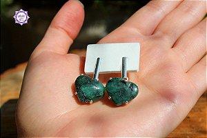 Brinco Coração de Esmeralda (Prata 950) | Pedra do Amor Divino, Cura e Prosperidade!