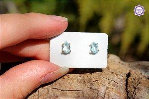 Brinco Gota de Topázio Azul Natural (Prata 950) | Cristal da Comunicação Clara e Intuitiva