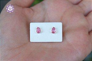 Brinco de Turmalina Rosa Gota (Prata 950) 1g | Pedra do Amor e Cura Emocional!